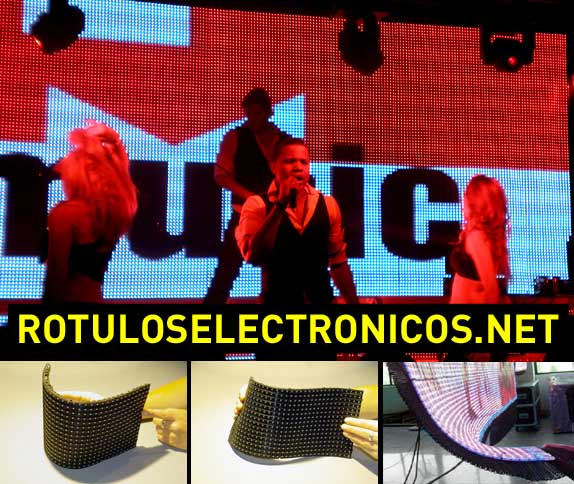 Pantallas flexibles led en un escenario